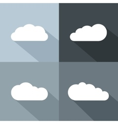 White cloud icons with long shadow vector image vector image