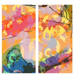 Abstract east banners vertical watercolor style vector image