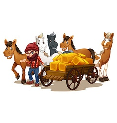 Farmer and horses vector image vector image