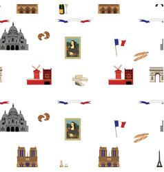 paris seamless pattern hand-drawn landmarks vector image