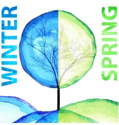 winter and spring watercolor concept seasonal vector image vector image