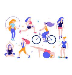 woman activities set of women doing sports yoga vector image vector image