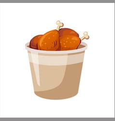 deep fried chicken legs paper bucket street fast vector image vector image