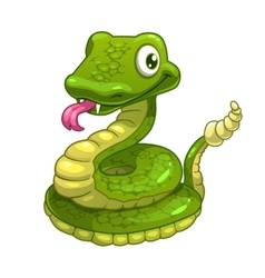 Funny cartoon smiling green snake vector image vector image