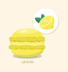 macaroon with lemon taste vector image