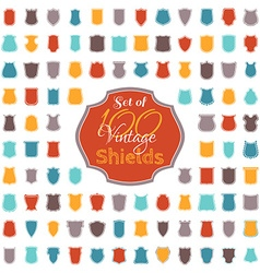 Set of 100 colourful vintage shields vector image
