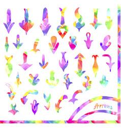 set of colorful watercolor arrows vector image vector image
