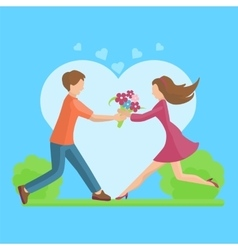 Affection Young couple flat style vector image vector image