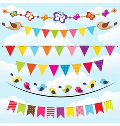 bunting and garland set on the sky vector image vector image