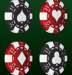 card suit poker chips vector image vector image