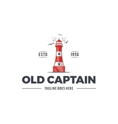 Nautical logo design icon Old captain emblem with vector image vector image