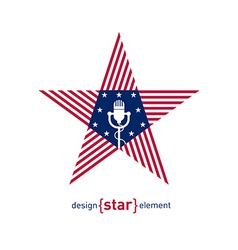 star with microphone and american flag colors vector image vector image