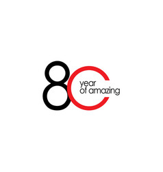 80 year amazing template design vector