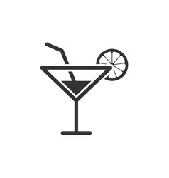 alcohol cocktail icon in flat style drink glass vector image