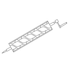 Archimedes screw line drawing vector