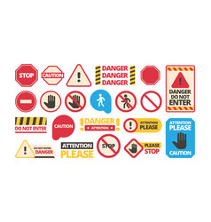 attention boards admittance symbols stop hand red vector image