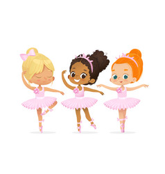 Ballerina girl friend character training set cute vector