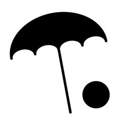 beach umbrella with ball icon minimal pictogram vector image