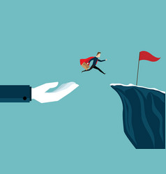 big hand help businessman jump to red flag at vector image