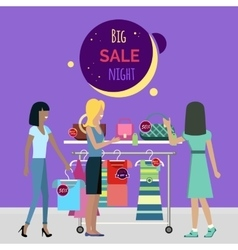 Big Night Sale in Fashionable Boutique vector