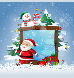 blank wooden frame with santa claus and cute vector image