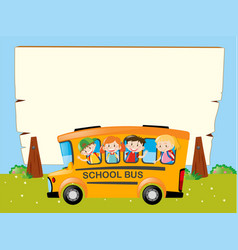 Border template with kids on the bus vector