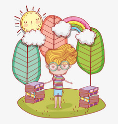 boy read books with trees and clouds vector image