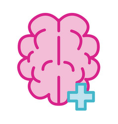 Brain human with pluss symbol line and fill style vector