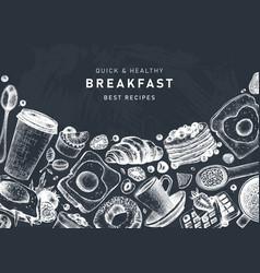 breakfast table banner on chalkboard morning food vector image