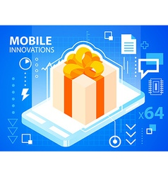 Bright mobile phone and gift box with bow on vector