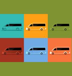 Bus color set vector
