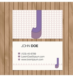Business card with alphabet letter on a wood vector image
