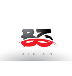 Bz b z brush logo letters with red and black vector