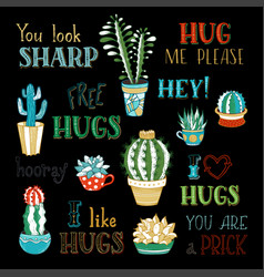 Cacti and hand-written lettering on black vector