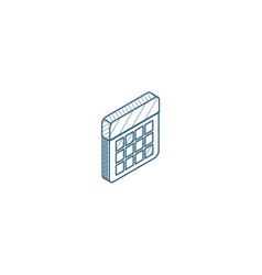 calendar isometric icon 3d line art technical vector image