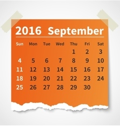 Calendar september 2016 colorful torn paper vector