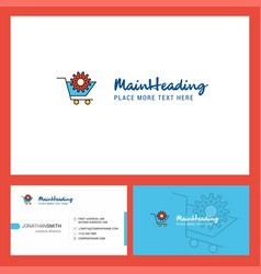 cart setting logo design with tagline front and vector image
