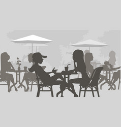 cartoon silhouettes people sitting in a cafe at vector image