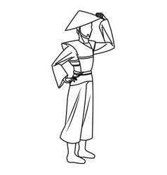 character asian man to ancient clothes and hat vector image