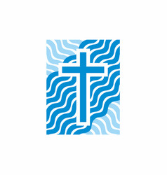 church logo and christian symbols vector image