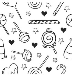 Collection of candy sweet doodle style vector