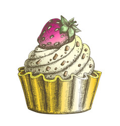 color creamy delicious cake sweet dessert ink vector image