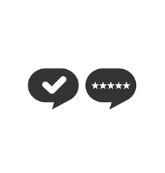 communication bubble with star and check icon vector image