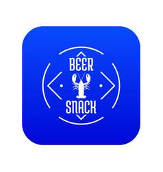 Crayfish icon blue vector