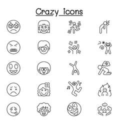 crazy line icon vector image