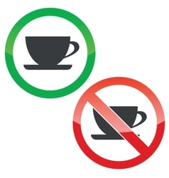 Cup permission signs set vector image