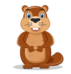 cute cartoon marmot looking from hole in ground vector image