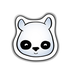 cute panda animal face sticker vector image