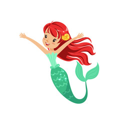Cute red-haired mermaid girl isolated on white vector