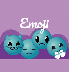 Cute round emojis cartoons vector
